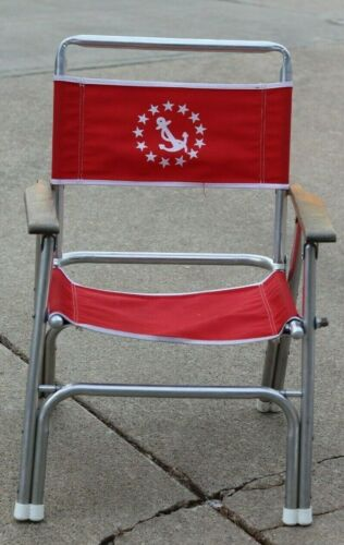 Vtg Garelick EEZ IN Nautical ANCHOR Folding Chair DECK Camping BOAT Fishing red