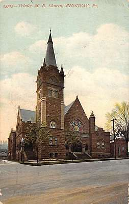 Ridgway Pennsylvania Trinity Me Church Street View Antique Postcard K43741