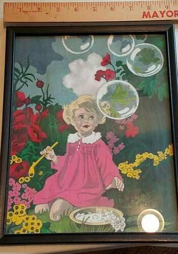 ANTIQUE Vintage PICTURE WALL  hanging girl with bubbles