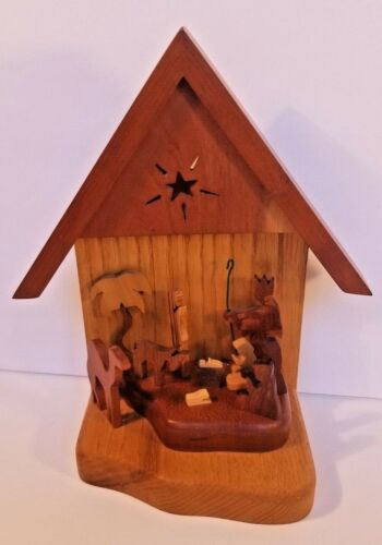 Handcrafted Solid Wood Nativity Set Skiline Quilted Wood Crafts KY USA