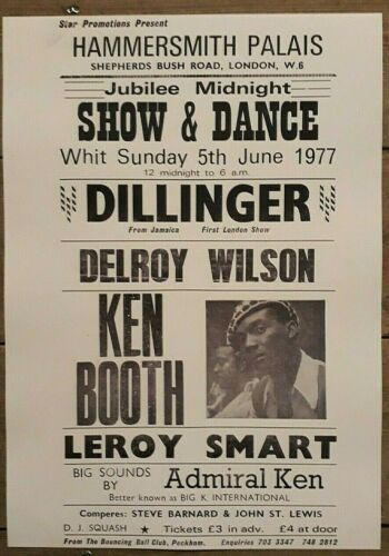 Reggae concert poster - Dillinger - The Clash Hammersmith Palais 1977 A3 reprint