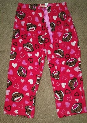 Maxx Womens Fleece Monkey Red Hearts Pajama Pants Bottoms Sz XL 16/18 #1703