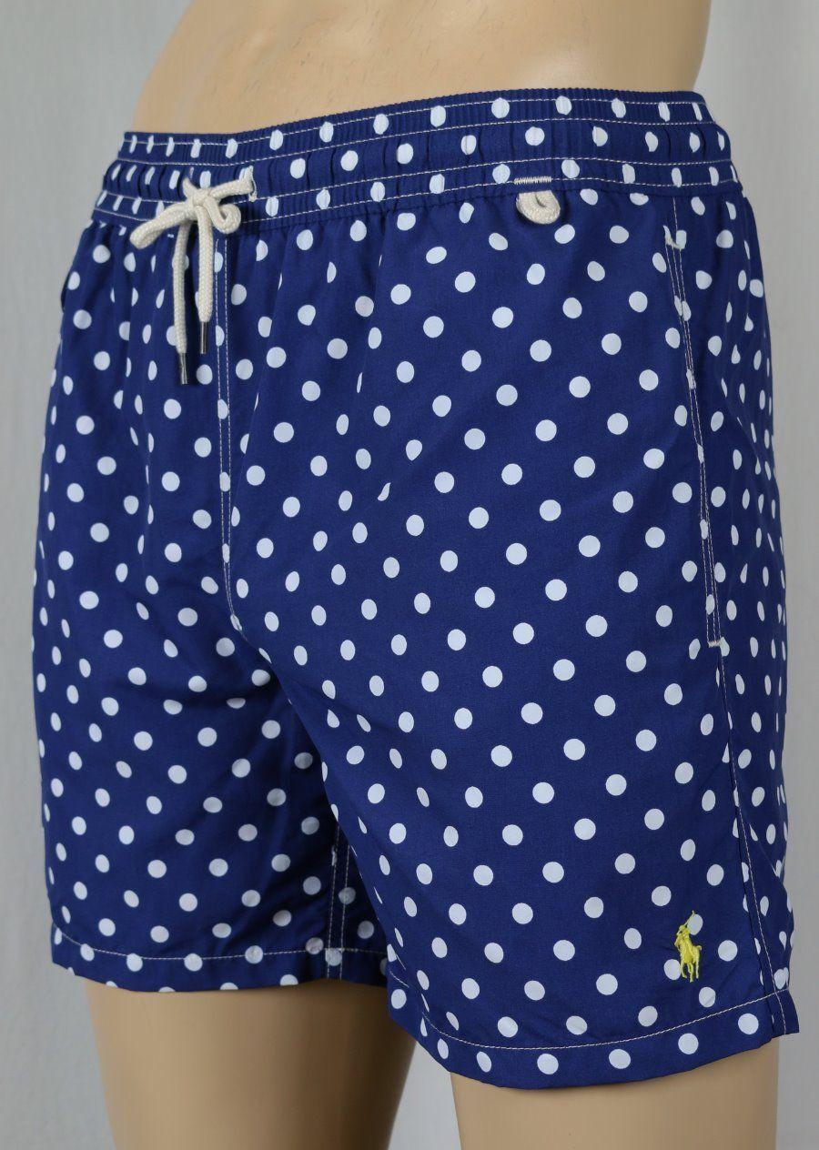 Ralph Lauren Blue Polka Dot Yellow Pony Swim Shorts Trunks