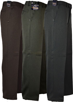 Mens Expand-A-Band Cavalry Twill  Trousers/Pants Self Adjusting Waist Band 32-48