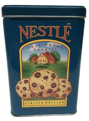 """Vintage Nestle Toll House Chocolate Cookies Limited Edition Tin Canister Blue 6"""""""