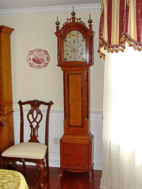 Augusta ME Tall Case Grandfather Clock Benjamin Swan Circa 1806 Birdseye Maple