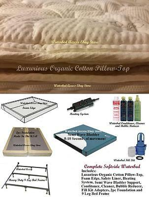 Queen Size SOFTSIDE WATERBED w/ Organic Cotton Pillow Top Mattress & Semi Wave