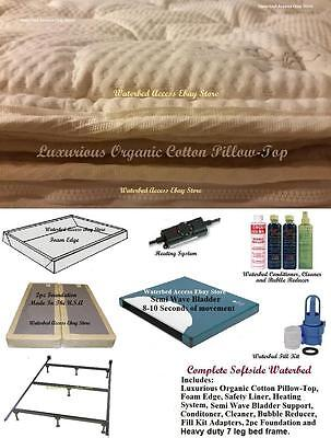 Full Size Complete SOFTSIDE WATERBED with Cotton Pillow Top & Semi Wave Mattress
