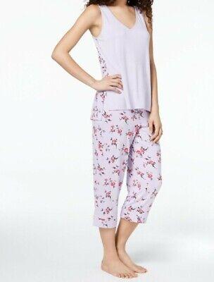 Alfani Women's Printed-Panel 2-Piece Capri Pajama Set, Summer Bouquet Lilac 2 Piece Capri Pajama Set