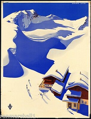 Ski Wunschheim Austria Europe Austrian Vintage Travel Art Advertisement Poster