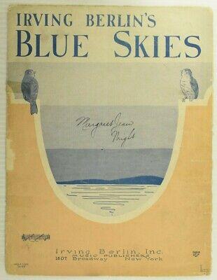 1927 Blue Skies Irving Berlin Vintage Sheet Music M64 Blue Skies Irving Berlin
