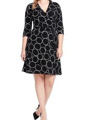 Leota Ponte Knit Perfect Wrap Dress In Bubbly Size 2L - No Belt
