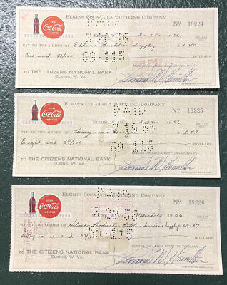 3 Vintage Coca-Cola Bottling Company Cancelled Check  ==ELKINS WEST VIRGINIA==