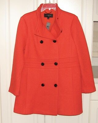 NWT Ann Taylor Large Petite red orange boucle warm winter double breasted coat Bouclé Coat Petite