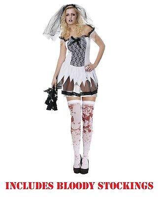 Sexy Zombie Corpse Undead Bride Veil Adult Ladies Halloween Fancy Dress Costume