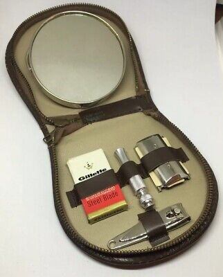 VTG Gillette Safety Travel Razor Code M3 Zippered Kit With Blade Mirror Clipper