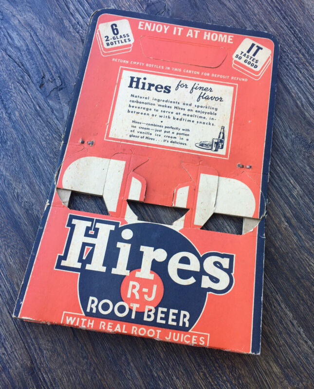 1940S Hires Root beer Cardboard Six Pack Carrier