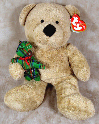 TY Pluffies Tan Brown Beary Merry Christmas Teddy Bear w/Small Green Plaid Bear