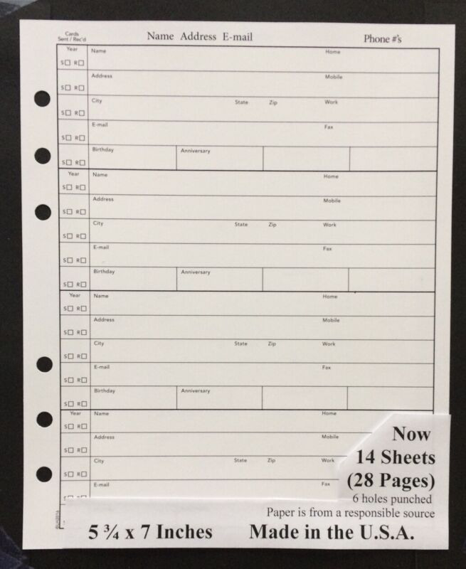 5 3/4 x 7 Inches ADDRESS BOOK REFILL 14 Sheets (28 Pages) fits older Hallmark