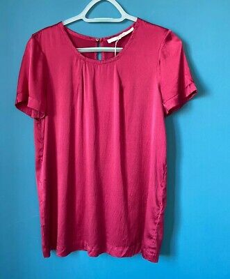 Jucca Elastic Silk Short Sleeve Top Pink Uk10 Made In Italy