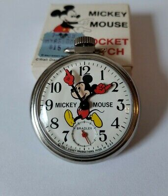 Mickey Mouse Vintage 1970s Mechanical Hand Wind Pocket Watch by Bradyley NOS