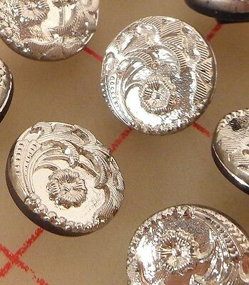"12 vintage glass shank buttons silver 4 flower design Czech 1/2"" 13mm #75"