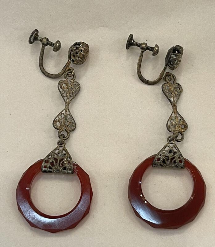 Art Deco Sterling Silver Faceted Carnelian Drop Dangle Earrings