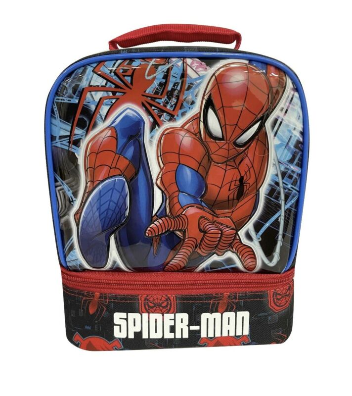 Kids Marvel Spiderman Dual Compartment Drop Bottom Lunch Bag