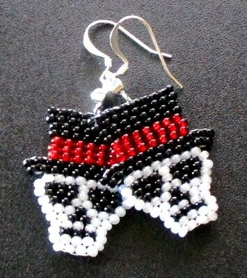 The Day Of Halloween (Day of the Dead Skull & Top Hat Beaded Earrings Halloween Fun Handcrafted)