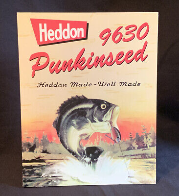 Vtg HEDDON 9360 PUNKINSEED Fishing Lure Cardboard Counter Advertising Stand Sign