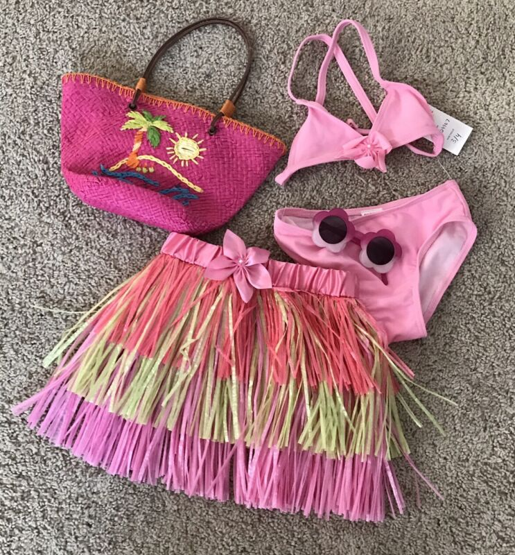 Gymboree Girl's Pink Hula Skirt Bikini 4pc Swim Suit Vacation 3/4 Yrs NWT Lot