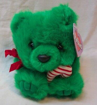 "Puffkins HOLIDAY JINGLES GREEN BEAR W/ CANDY CANE 4"" Plush STUFFED ANIMAL NEW"