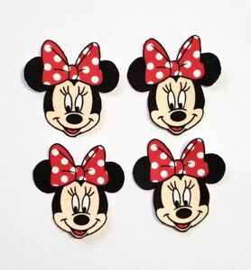 Minnie Mouse fabric iron on applique. 4pc. Patch crafts cute red polka dots bow