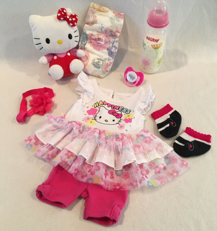 Reborn Baby Doll Hello Kitty Set W/ Pacifier, Bottle & Accs