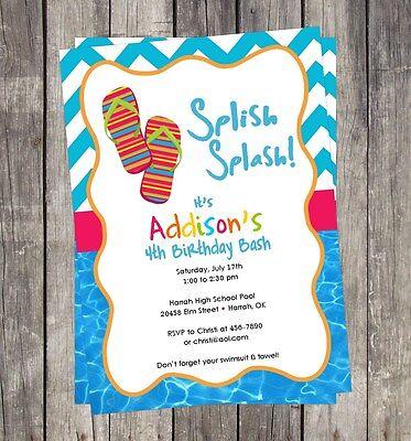 Pool Party Flip Flops DIY Invitation Birthday Party U PRINT Party PERSONALIZED - Pool Party Invites