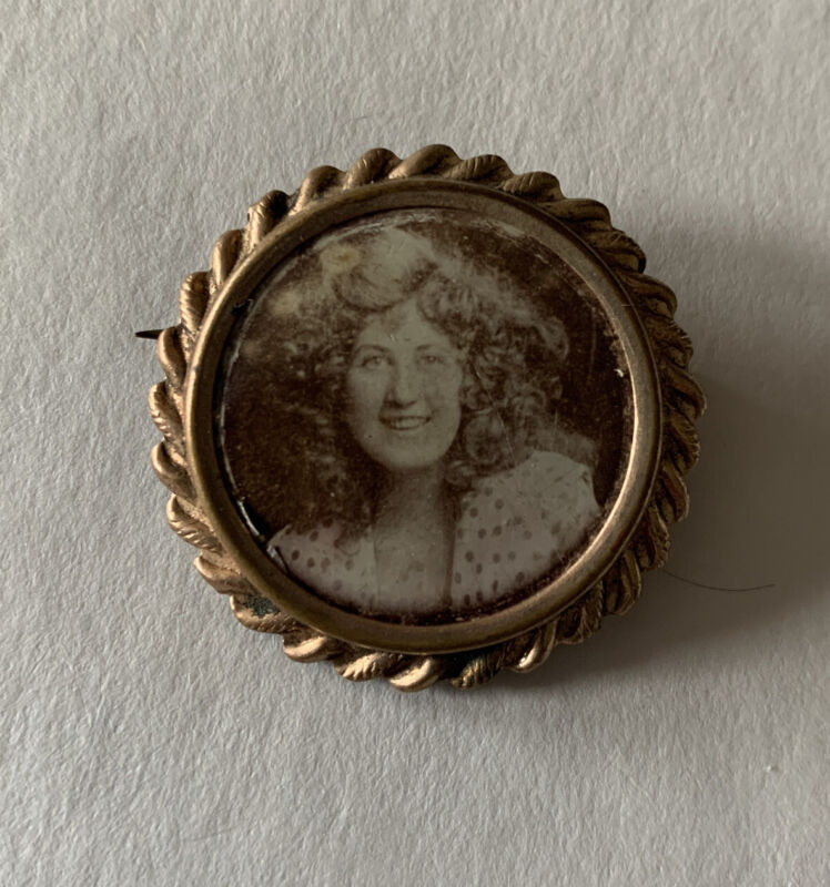 """Antique Mourning Portrait Pin Smiling Girl 1920's Pinback Button 1.25"""""""