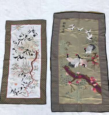 Matching Pair of Antique Qing Dynasty Chinese silk embroidered sleeve panels