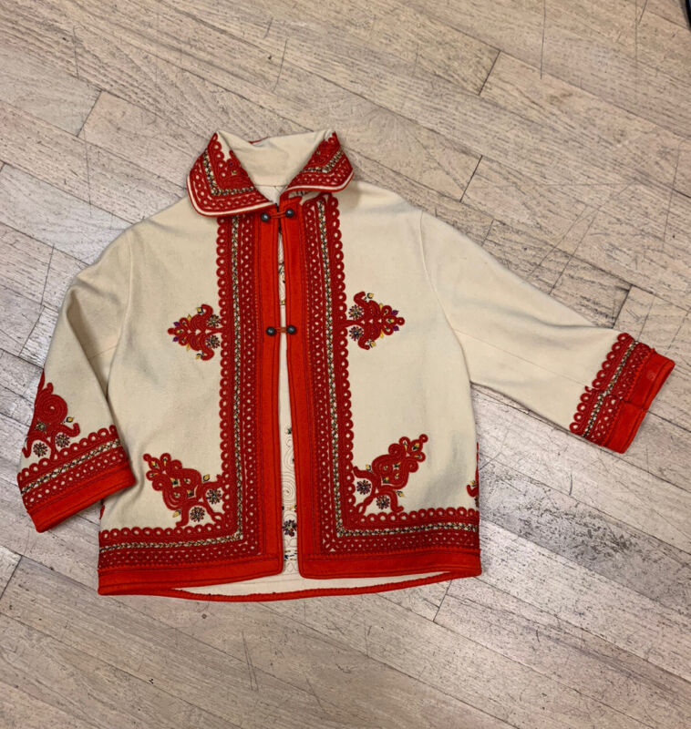 Antique Polish wool Vintage cream Embroidered Kids Cream Jacket with red