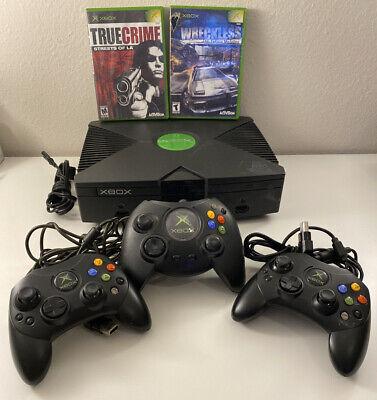 🟢 Microsoft Xbox Original Console Bundle W/ 3 Controllers - 2 Games Bundle