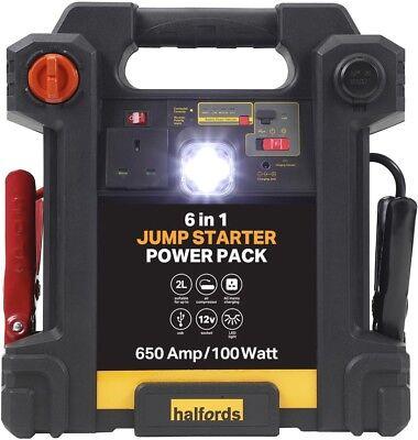 Halfords 6-in-1 Jump Leads Starter Power Pack 12V DC Car Air Compressor 100W