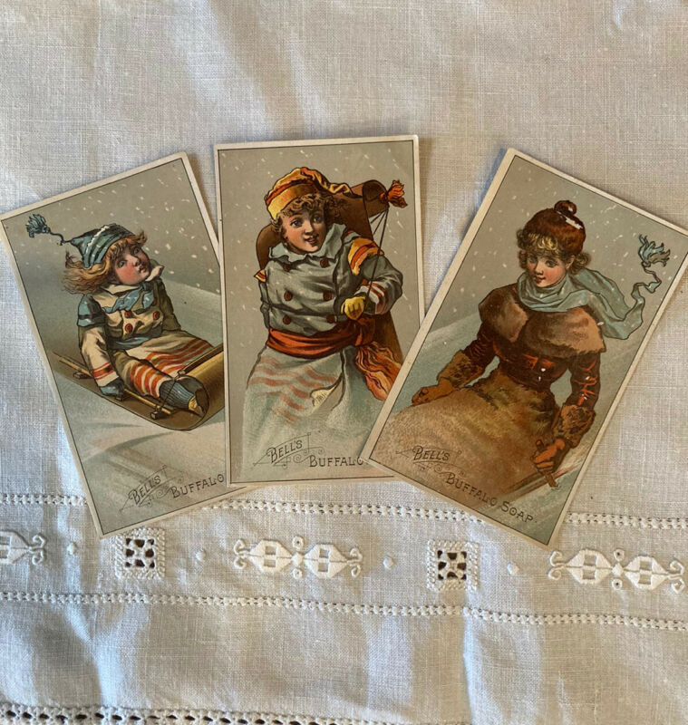 3 Belle's Buffalo Soap Victorian Trading Cards Winter Snow Katz Dry Goods PA
