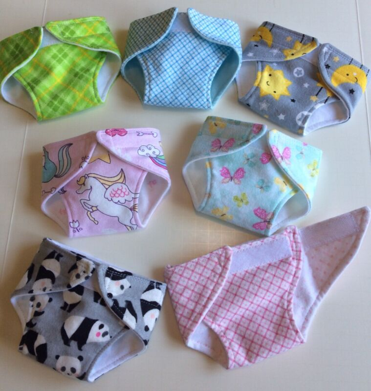 """Handmade Doll Diapers For 15"""" Bitty Baby - 2 layers flannel - choose your design"""