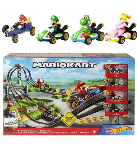 Hot Wheels Mario Kart Circuit Track Set Cart Yoshi Princess Peach Luigi Diecast