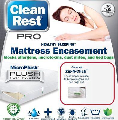 "Clean Rest PRO Bed Bug Proof Mattress & Box Spring Encasement Set 9""-21""  QUEEN"