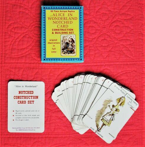 Vintage Alice in Wonderland Notched Card Building Set 48-Piece Antique Replica