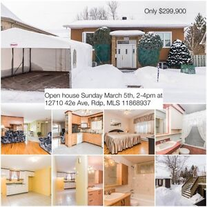 Open house Sunday March 5th, 2-4pm at 12710 42e Ave, Rdp