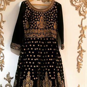 Beautiful Gota Patti work on Dark Blue Velvet Floor Length Dress