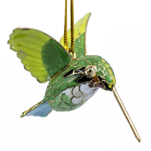 "Mini Cloisonne Enameled Metal Green Ruby Throated Hummingbird Ornament 2.25""L"