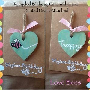 Love Bees *Made To Order Birthday Card With Hand Painted Wooden Heart Attached