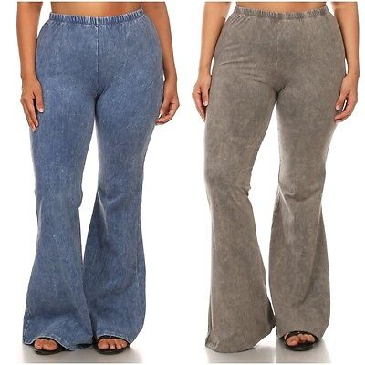 Plus Pants Bell Bottom Mineral Washed High Waist Casual Solid Stretch 1X 2X 3X - Plus Size Bell Bottoms